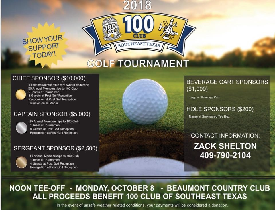 100 Club of SETX 2018 Golf Tournament sponsor levels