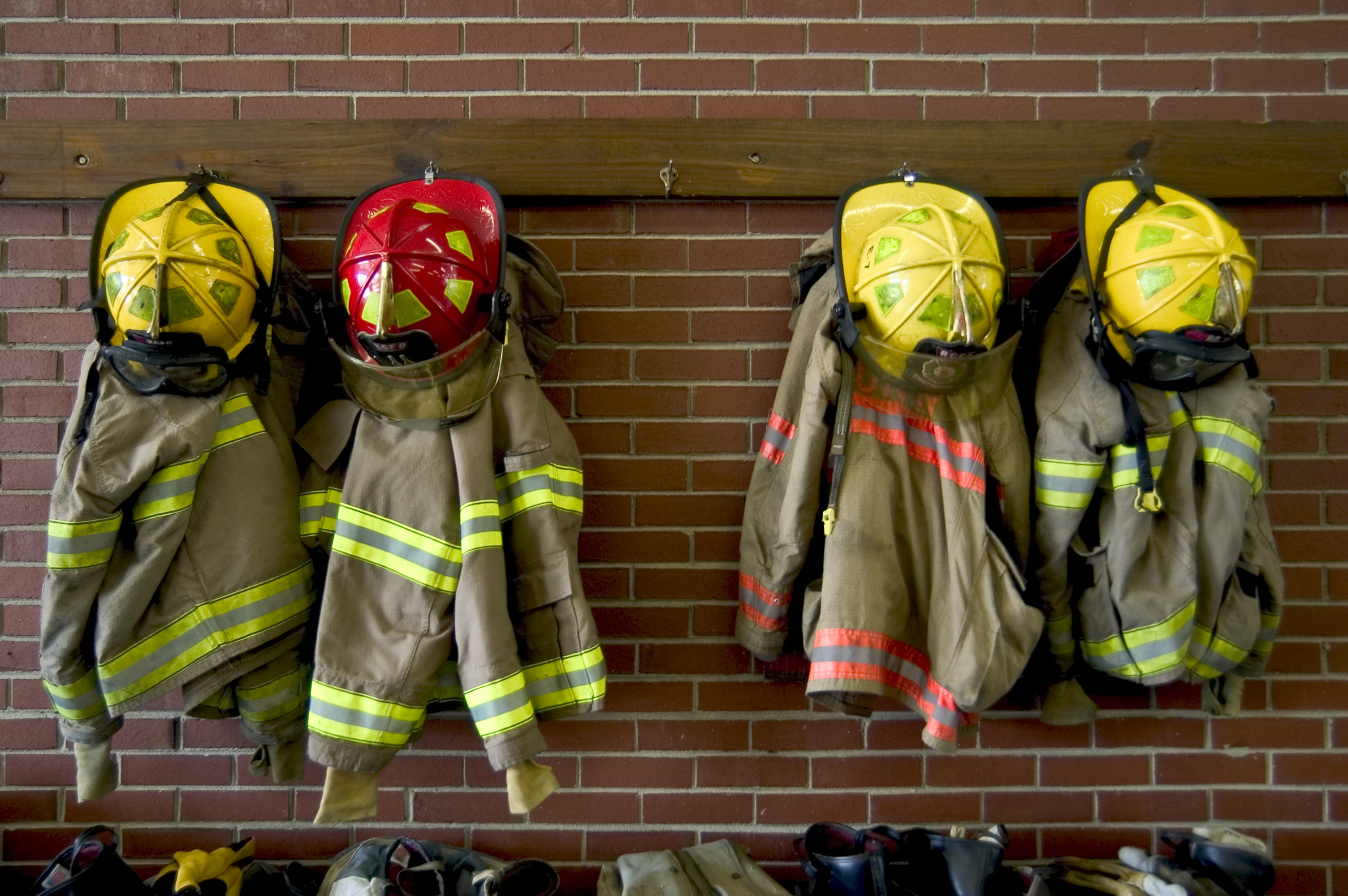 Fire Department helmets and fire suits